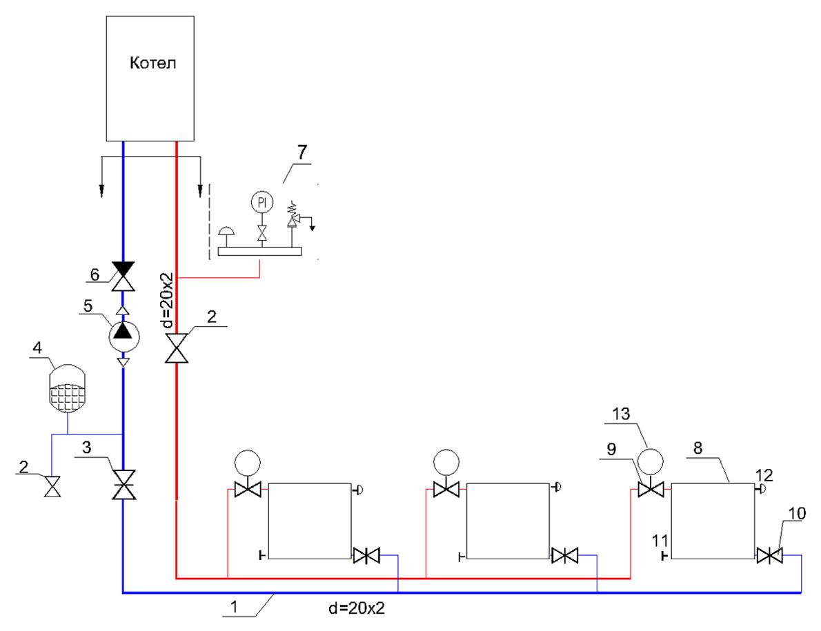Схема двухтрубного отопления частном доме фото 560
