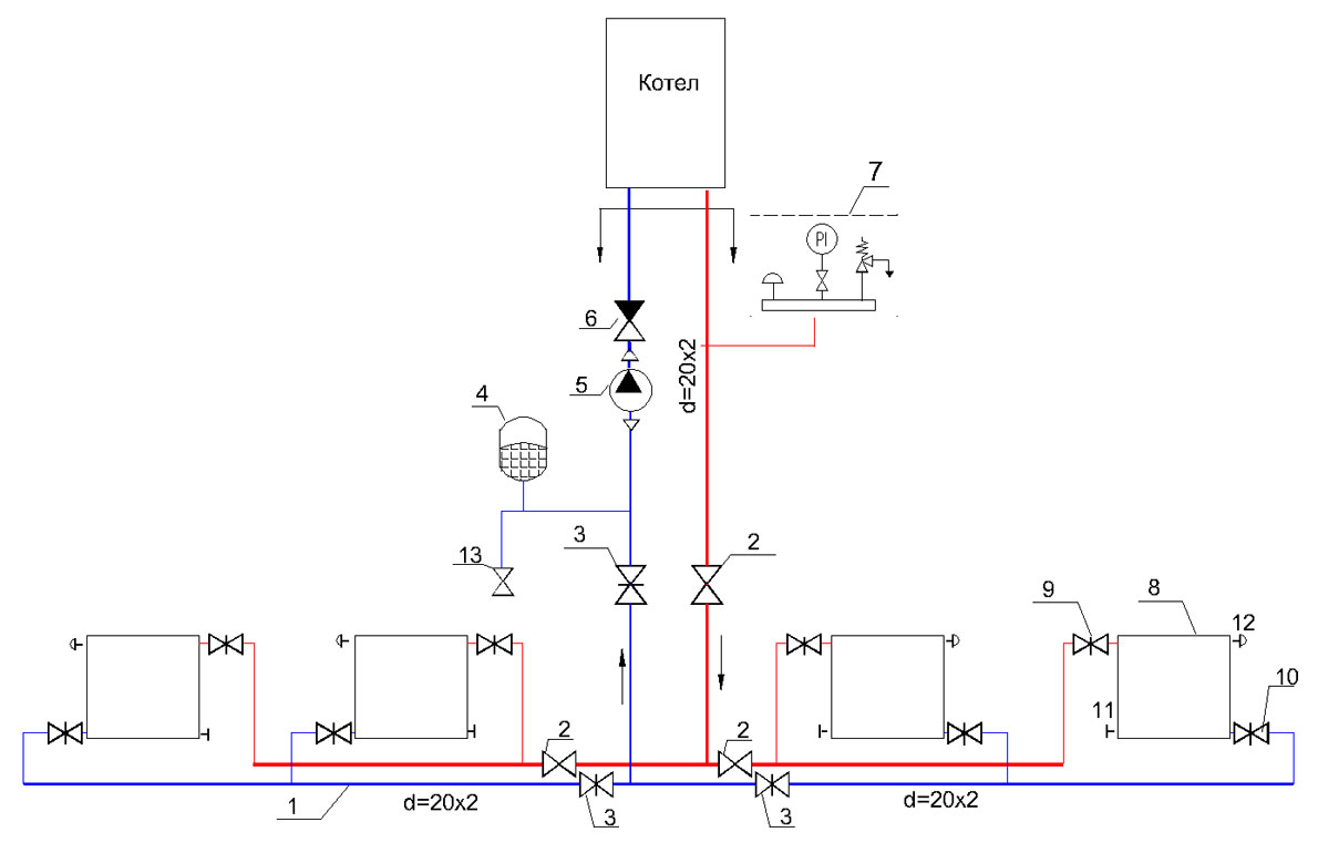 Схема радиаторного отопления